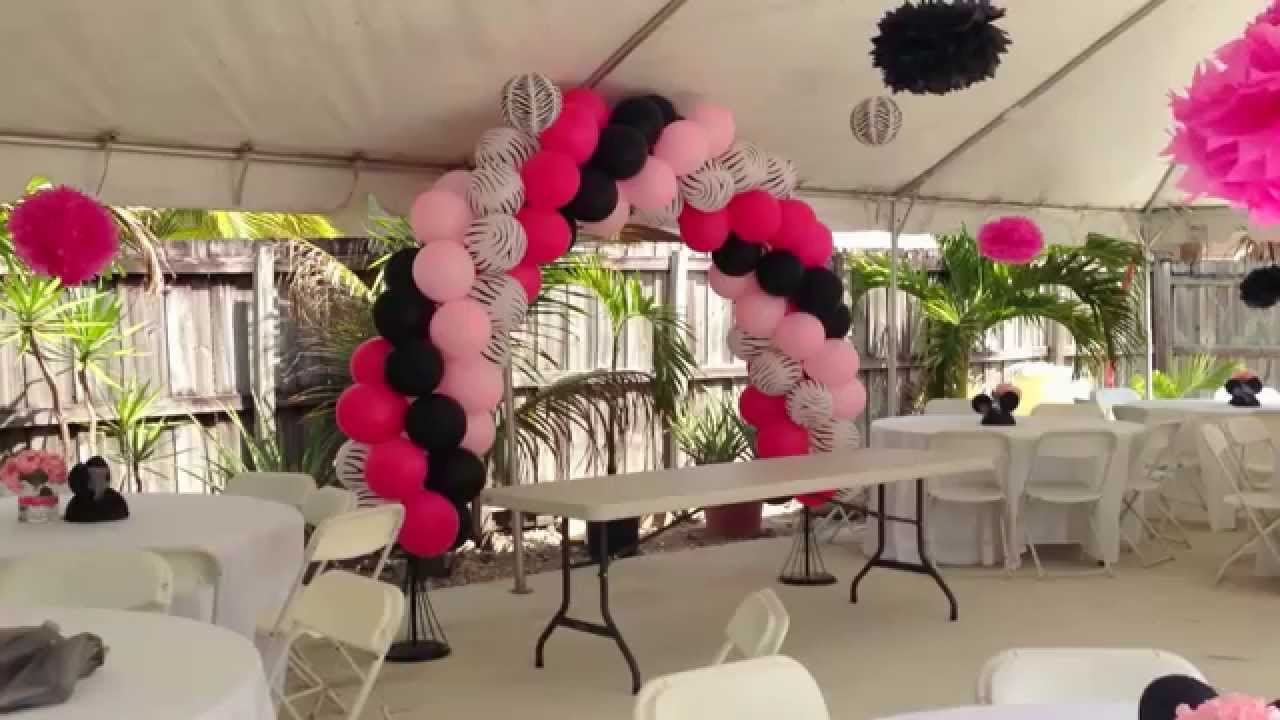 Zebra and Pink Party Decorations By Miami Party Balloons YouTube