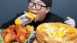 ASMR 굽네치킨 신메뉴 시카고피자 + 볼케이노 먹방!…