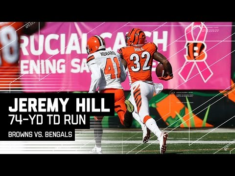 Jeremy Hill Blasts Off for a 74-Yard TD Run! | Browns vs. Bengals | NFL
