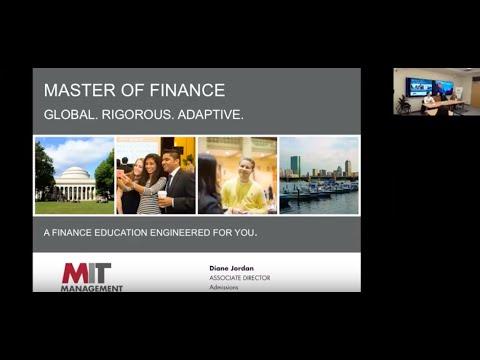 MIT Sloan School of Management: Master of Finance Live Stream Jan. 18, 2018