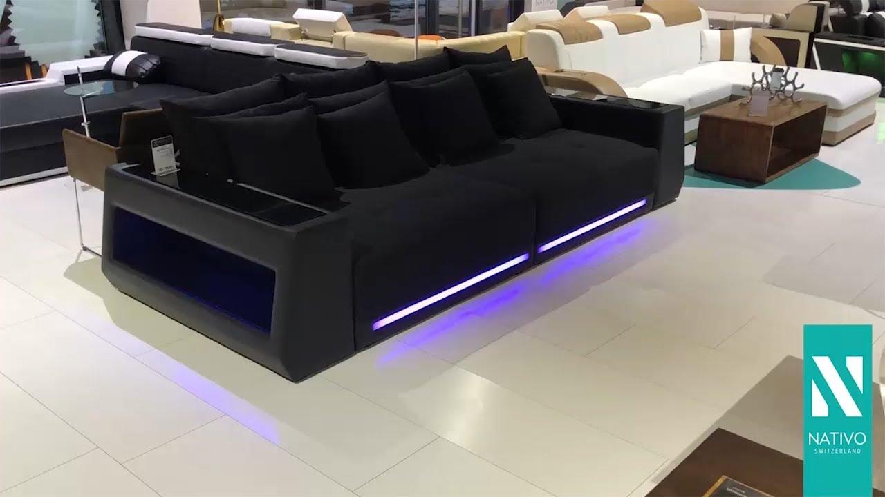Nativo Mobel Osterreich Big Sofa Vice Mit Led Beleuchtung Schwarz