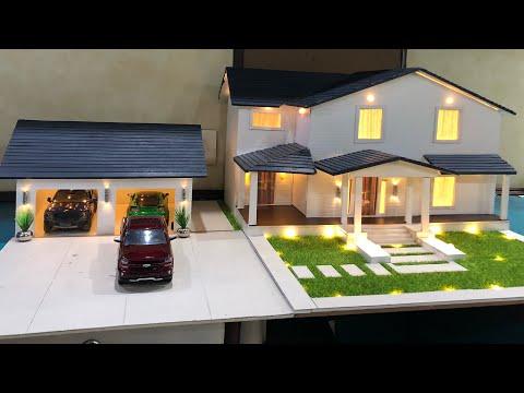 DIY Miniature Big Villa Model House With Garage   Realistic Diorama With Lighting  