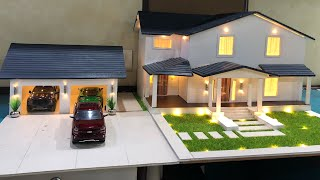 dIY Miniature House and Garage with Lighting | 1/24 Diorama | Realistic Model House with Garden