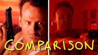 Die Hard - Death of Hans Gruber - Homemade VS Original (comparison)