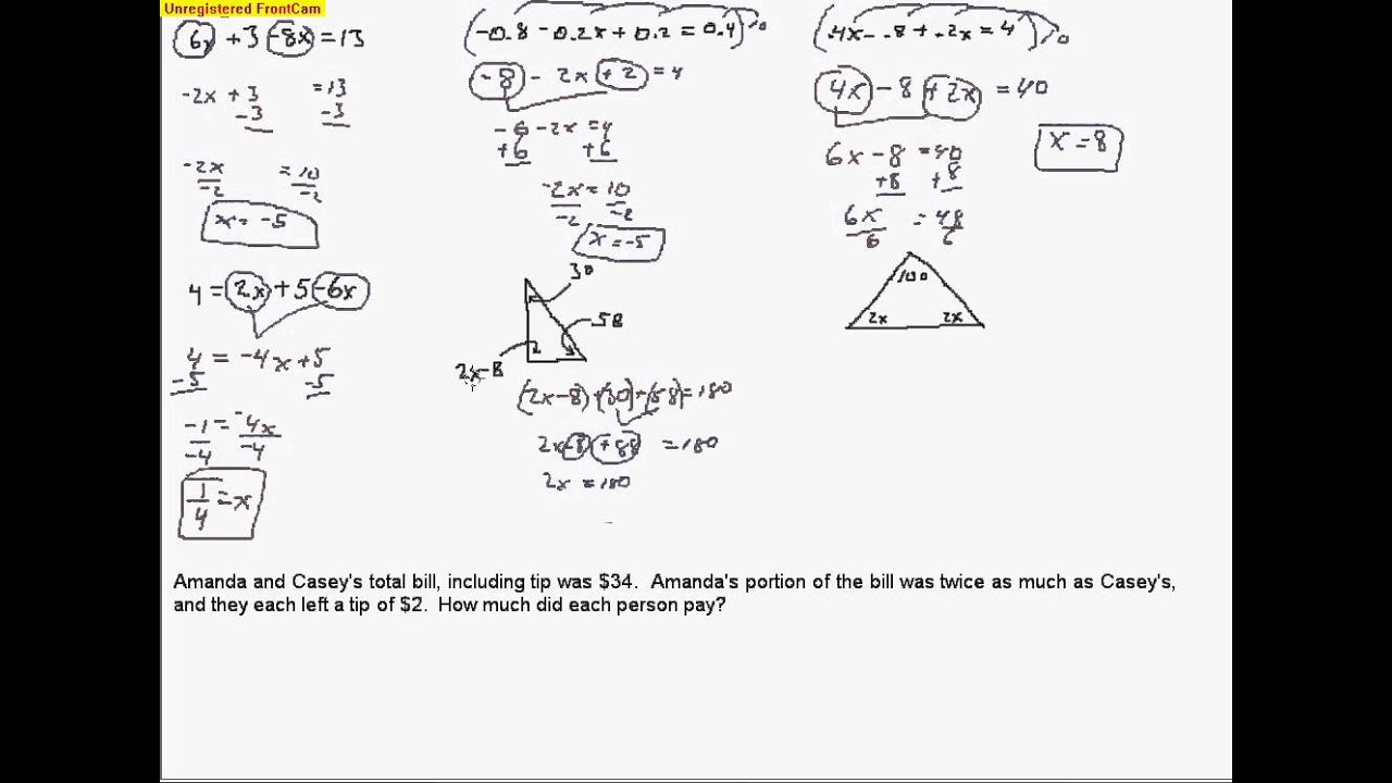 Algebra B Day 12 Solving multistep equations with ...