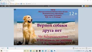 Видео-час размышления «Верней собаки друга нет!»