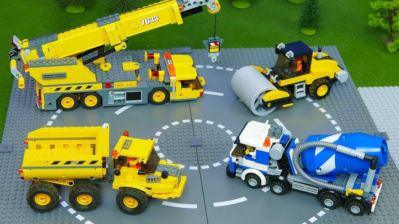 Lego Bulldozer Concrete Mixer Dump Truck Mobile Crane