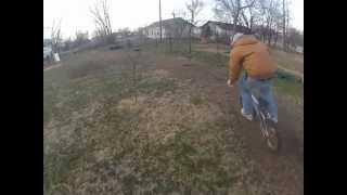 me and my friend david racing our bikes