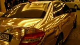 Arab Money - Two Golden Mercedes AMG Cars in Dubai Mall