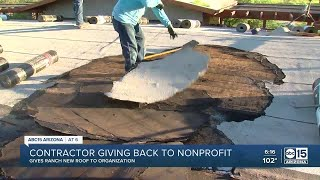 Local roofing company gifts roof repair to owners of animal-assisted therapy for kids