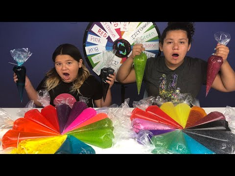 PIPING BAG SLIME 3 COLORS OF GLUE SLIME CHALLENGE MYSTERY WHEEL OF SLIME EDITION
