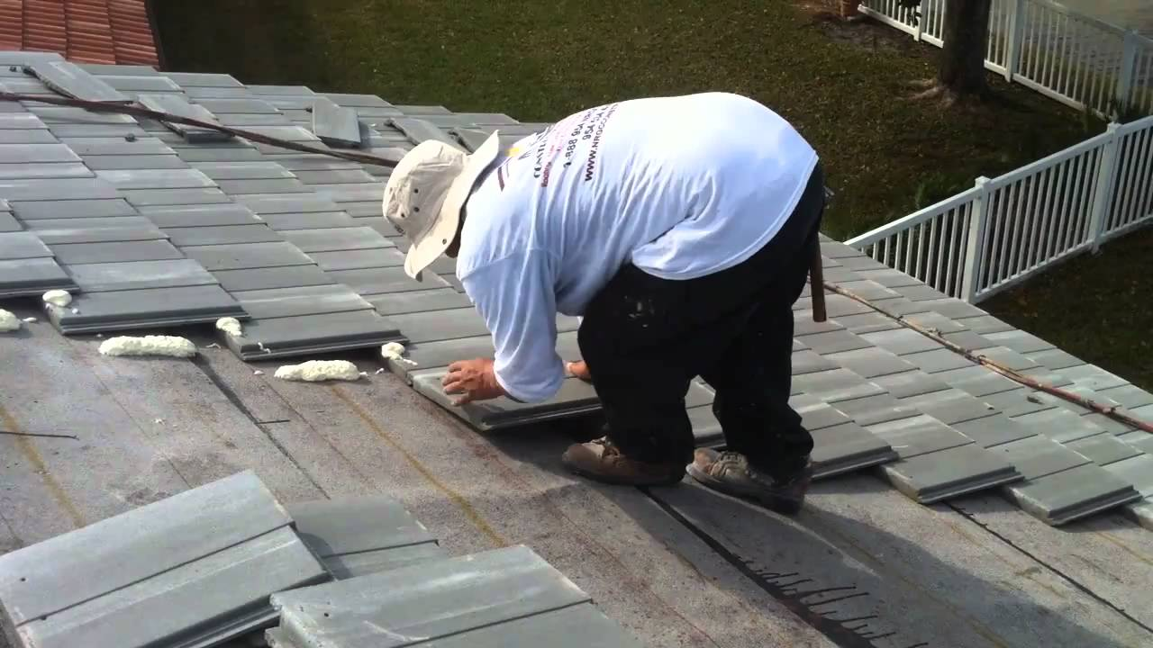 New Roofing Flat Roof Tile Foam Installation Youtube