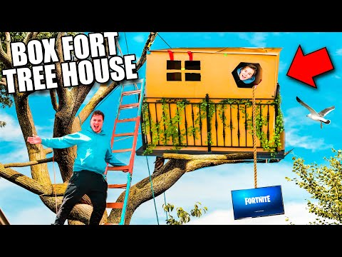 Box Fort Treehouse Survival Challenge! 40 Feet Tall 📦😱