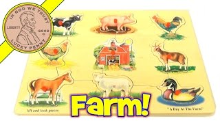 A Day At The Farm Peg Wooden Animal Shapes Puzzle