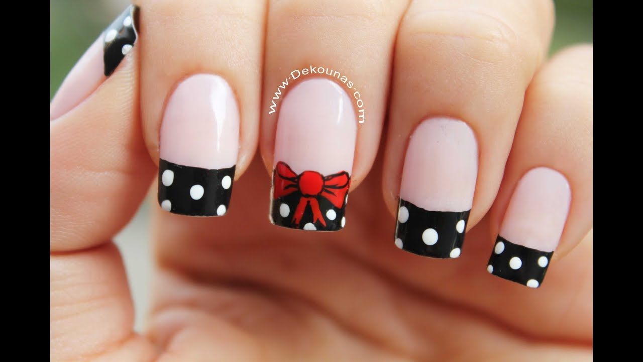 Decoración de uñas moño y lunares - Bow nail art - YouTube