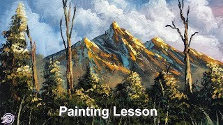 Mountain And Trees Painting   How To Paint Mountain and Trees   Easy Painting   Painting Tutorial