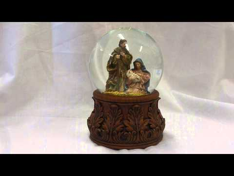 Antique Nativity Musical Water Globe