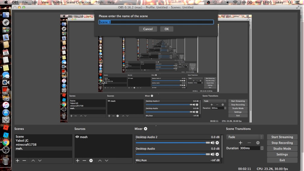 how to record with OBS mac 2017
