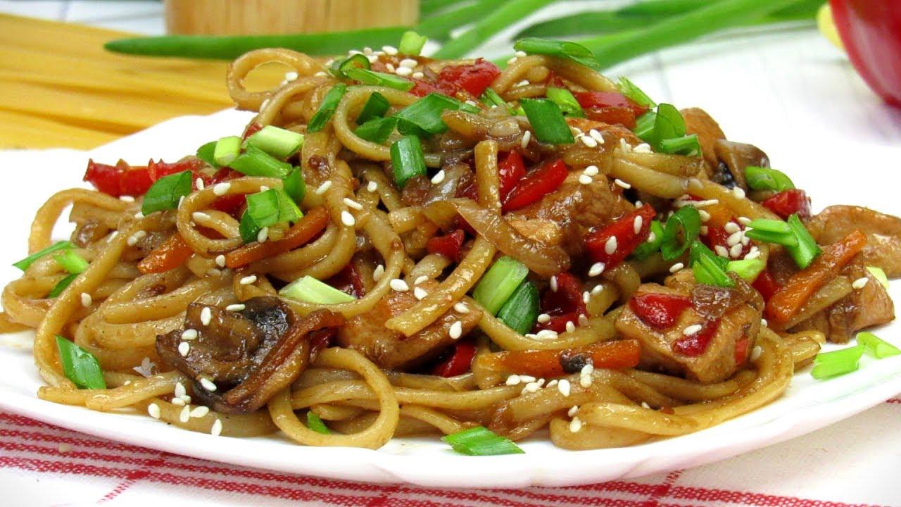 Лапша с курицей и овощами ☆ Удачный рецепт Как приготовить Лапшу с курицей и овощами в соусе терияки