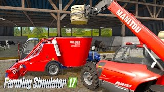 Farming Simulator 17 - Feeding Cows with MIXERWAGON (With commentary!) Part #1