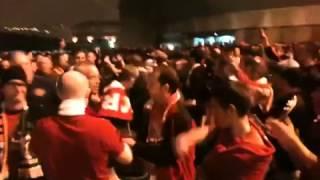 Bilbao fans applaud Man Utd fans after game