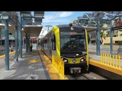 Metro Expo Line : Arrivée d'une rame à Downtown Santa Monica