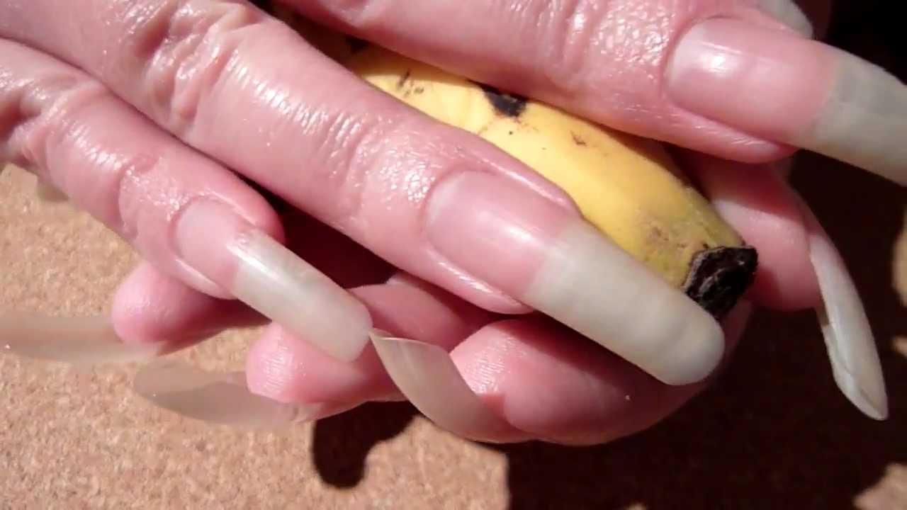 reallongnailsuk\'s clear long nails and banana (video 26) - YouTube