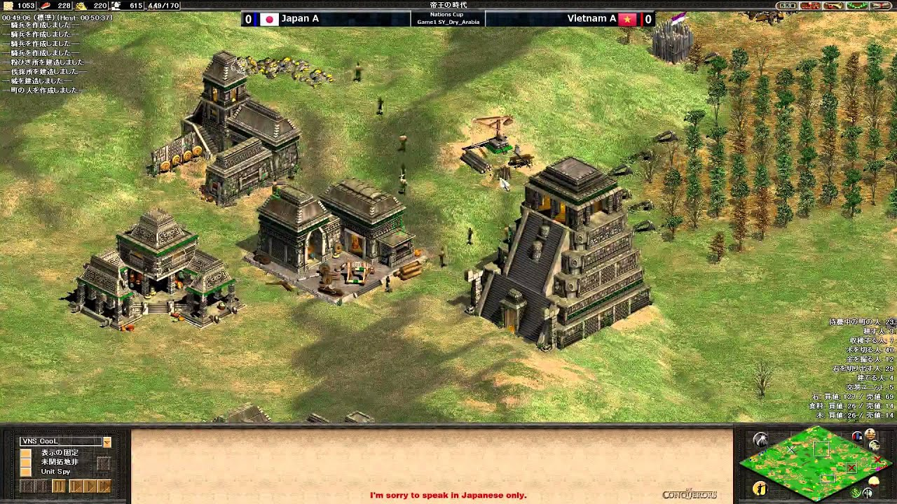 SY Nations Cup(2014) Japan A vs Vietnam A Game1 Dry Arabia - Age of Empires  II: The Conquerors - YouTube