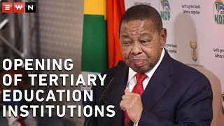 Minister of Higher Education, Science and Innovation Dr Blade Nzimande briefed the media on the COVID-19 measures for tertiary education institutions.