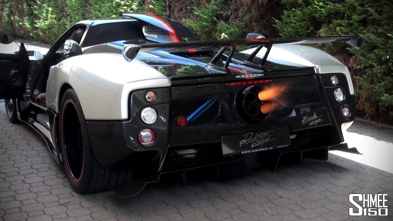 pagani zonda cinque roadster flamethrower youtube. Black Bedroom Furniture Sets. Home Design Ideas