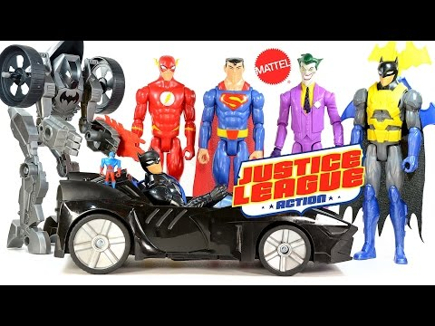 Justice League Action Superman Batman Flash Atom & The Joker plus Batmobile & Batcycle