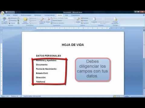 Sena Word Basico Crear Hoja De Vida Youtube