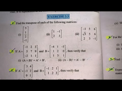 Download EX 3.3 Q1 TO Q12  SOLUTIONS OF MATRICES NCERT CHAPTER 3 CLASS 12th