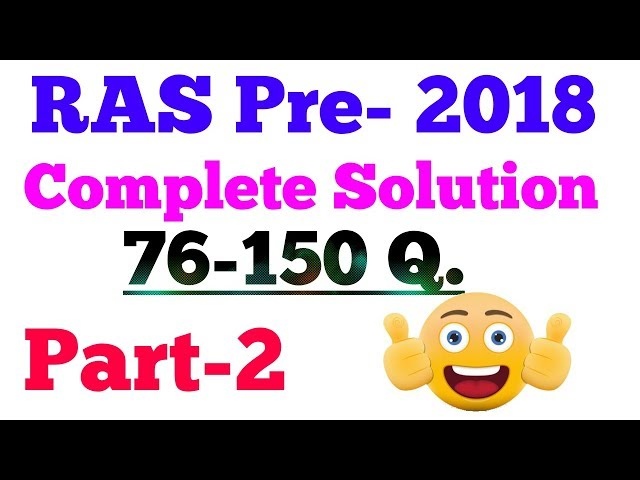 RAS PRE-2018 // Part-2 // Answer key- Complete Paper Solution....????