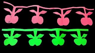 DIY Paper cutting-How to make Simple paper cutting Apple chain by Mr.paper crafts.