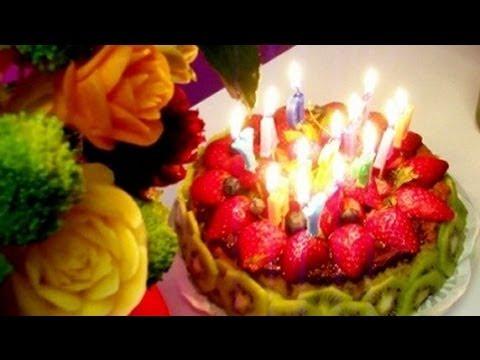 Happy Birthday Wo Chocolate Strawberry Marble Cake Yummy