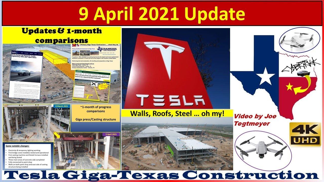 Tesla Gigafactory Texas 9 April 2021 Cyber Truck & Model Y Factory Construction Update (07:50AM)