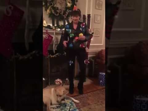 Mom playing Christmas music with bells on her body new years 2017