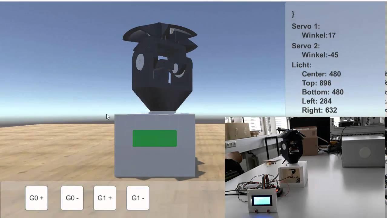 Unity 3D light seeking robot with online simulation