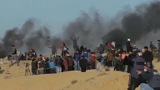 Palestinians protest on the naval border in Gaza