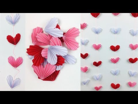 EasyCrafts: DIY Room Decor Idea for a Sweet Home   Hanging Paper Heart - Wall Decor for Teenagers