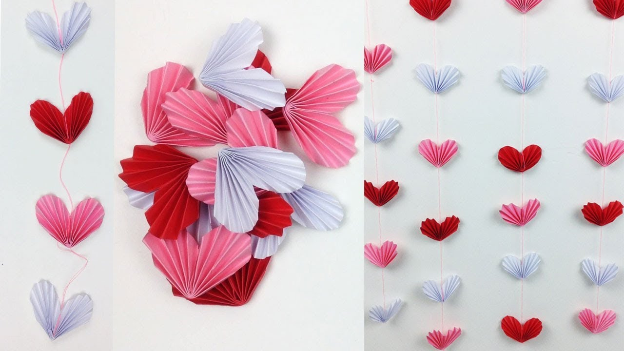 Easycrafts Diy Room Decor Idea For A Sweet Home Hanging Paper Heart Wall Decor For Teenagers