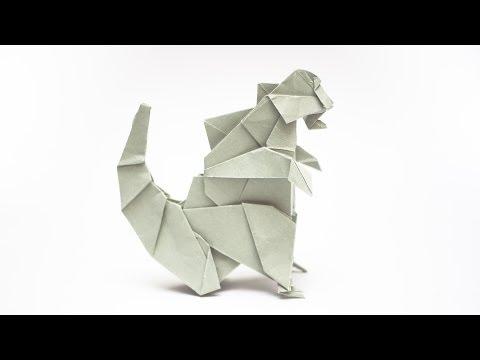 การพับกระดาษเป็นรูปก็อตซิลล่า origami Godzilla
