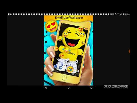 Looking at emoji wallpaper and listening to music