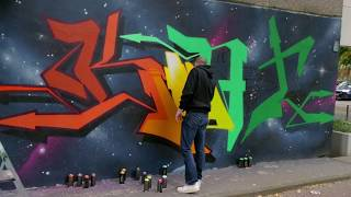 CANTWO, HOMBRE UNO and KLARKKENT ONE painting a big anniversary mural