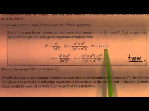 Differential Geometry: Lecture 6 part 2: Frenet Serret for nonconstant speed