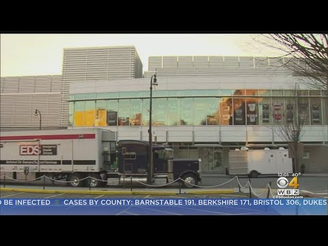 Crews Setting Up Field Hospital For Coronavirus Patients At Worcester's DCU Center