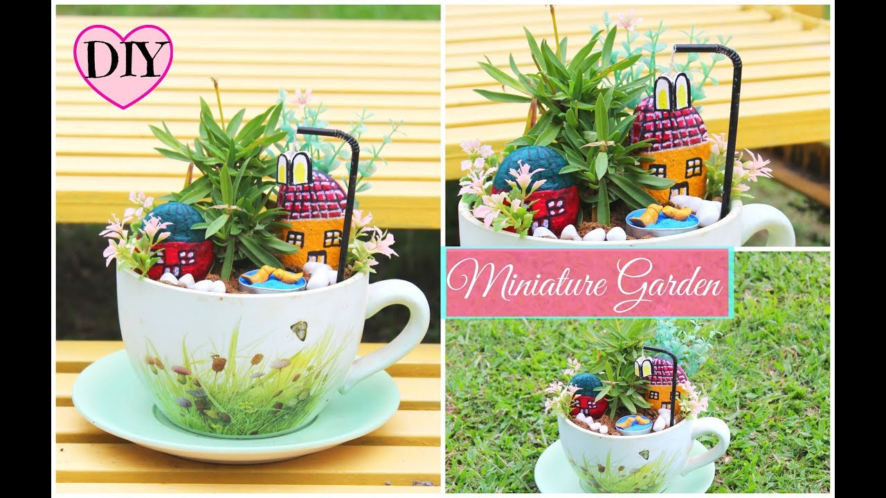 How to make miniature garden at home using waste material for Garden decoration with waste material