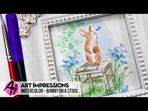 Ai Watercolor - Bunny on a Stool
