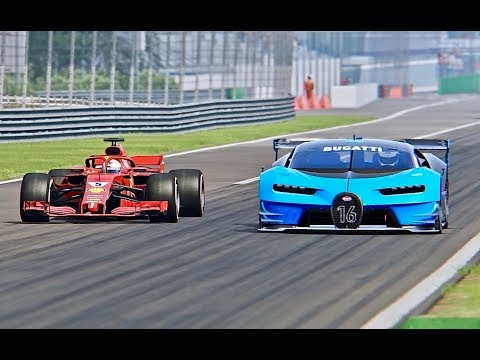 Ferrari F1 2018 vs Bugatti Vision Gran Turismo - Monza